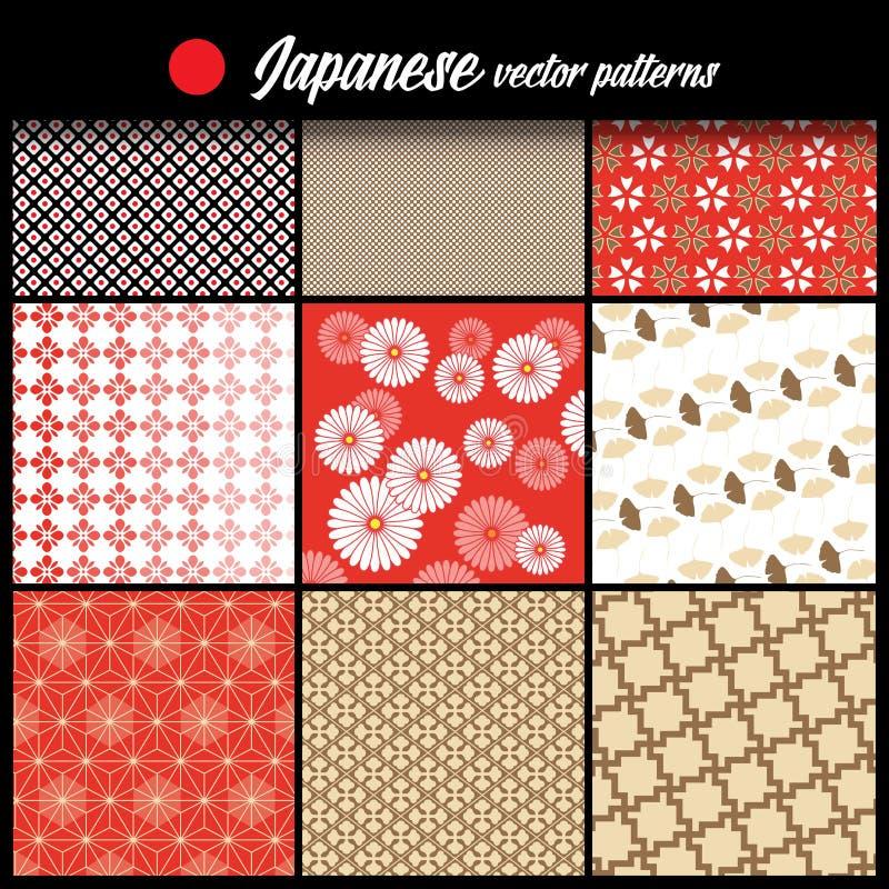 Modelo japonés Puede ser utilizado como textura Ilustración del vector Diversas imágenes gráficas Colores rojos, blancos, marrone stock de ilustración