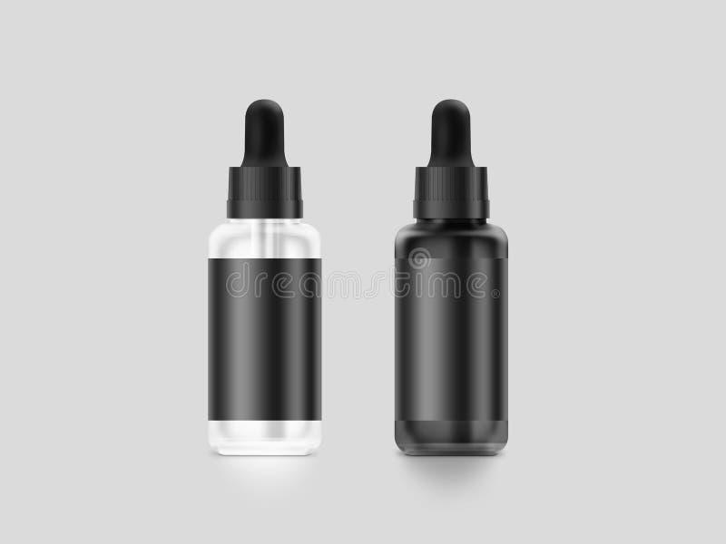 Modelo líquido isolado, trajeto da garrafa do conta-gotas do vape preto vazio de grampeamento ilustração royalty free