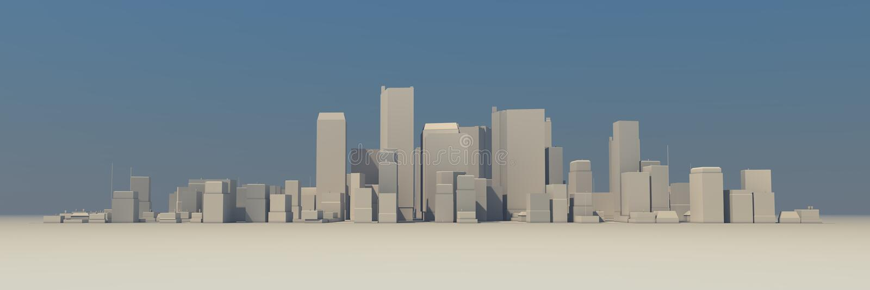 Modelo largo 3D da arquitectura da cidade - ligeiramente nevoento ilustração royalty free