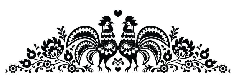 Modelo largo floral polaco con los gallos - lowickie wzory del bordado del arte popular libre illustration