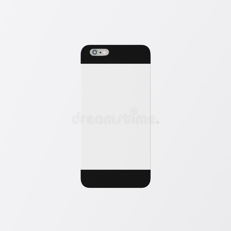 Modelo limpo preto vazio de Smartphone da caixa do telefone da tampa do molde do close up um Vazio para trás isolado genérico do  fotografia de stock