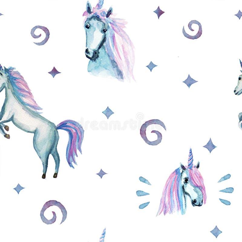 Modelo lindo aislado del unicornio de la acuarela Acuarela de los unicornios del cuarto de niños foto de archivo
