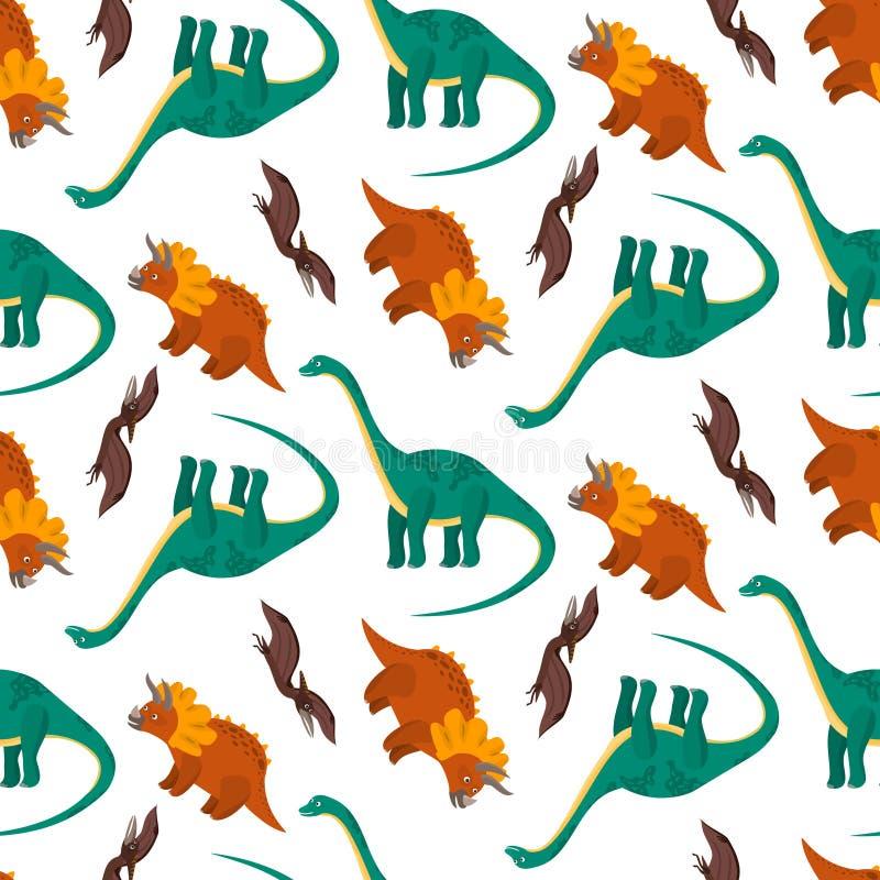 Modelo lindo con los dinosaurios coloridos de la historieta libre illustration