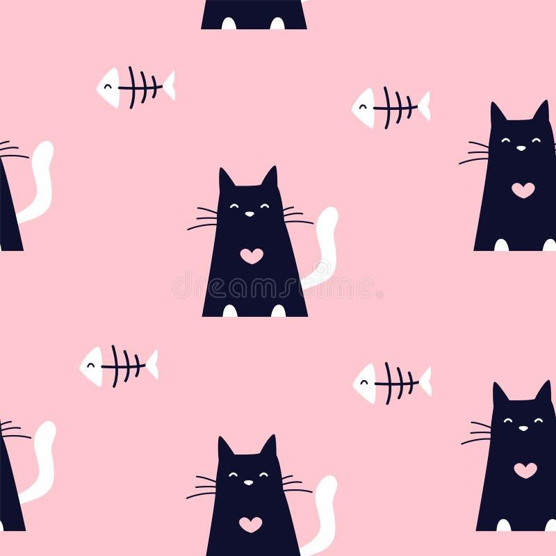 Modelo lindo con los huesos de pescados y los gatos negros en fondo rosado Ornamento para la materia textil y envolver Vector ilustración del vector