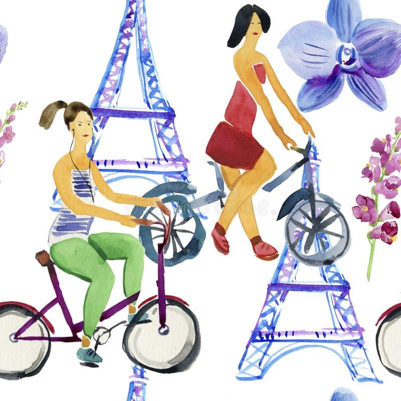 Modelo lindo de la acuarela, muchachas en las bicis Fondo inconsútil ilustración del vector