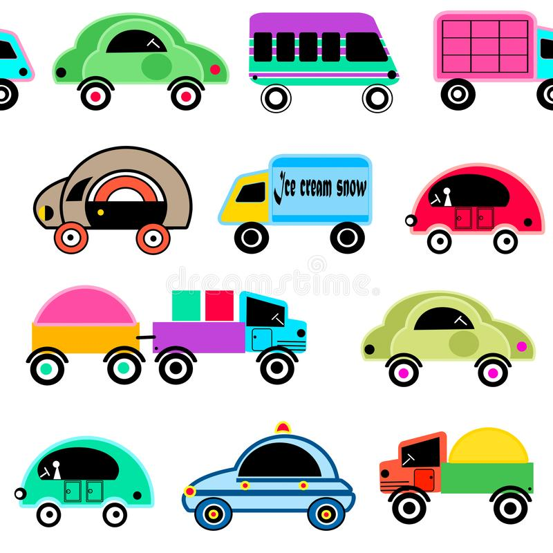 Modelo lindo de la diversión de los niños de los coches inconsútiles de la historieta stock de ilustración