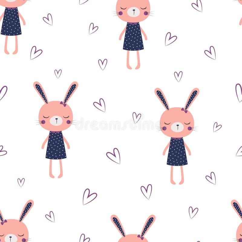 Modelo lindo de la muchacha de conejito ilustración del vector