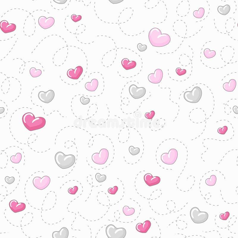 Modelo lindo de los corazones stock de ilustración