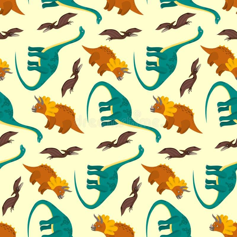 Modelo lindo de los dinosaurios de la historieta para la materia textil de los niños ilustración del vector