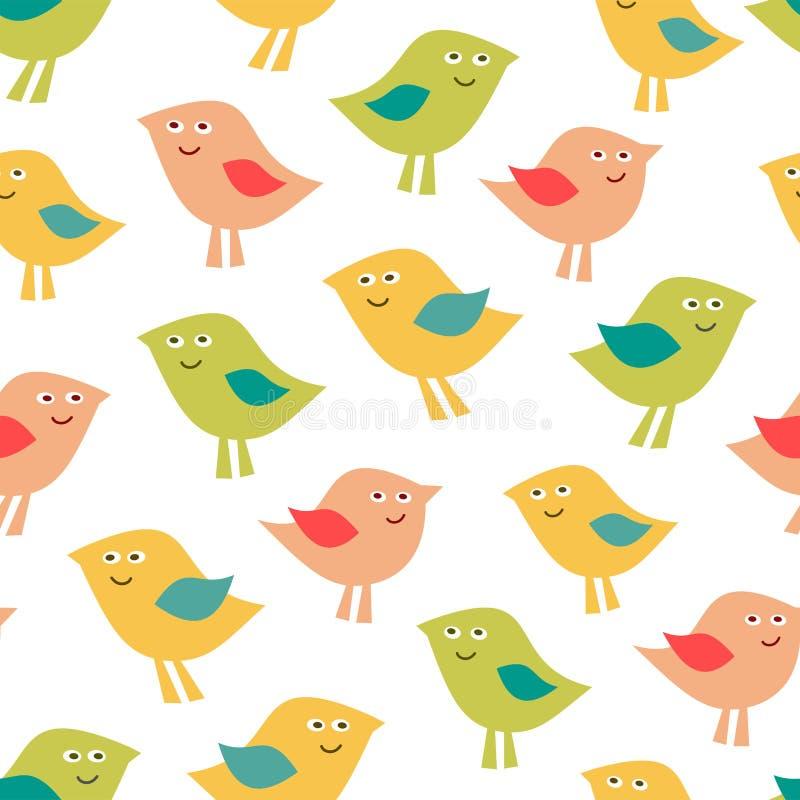 Modelo lindo del bebé de los pájaros Fondo divertido de los cabritos stock de ilustración