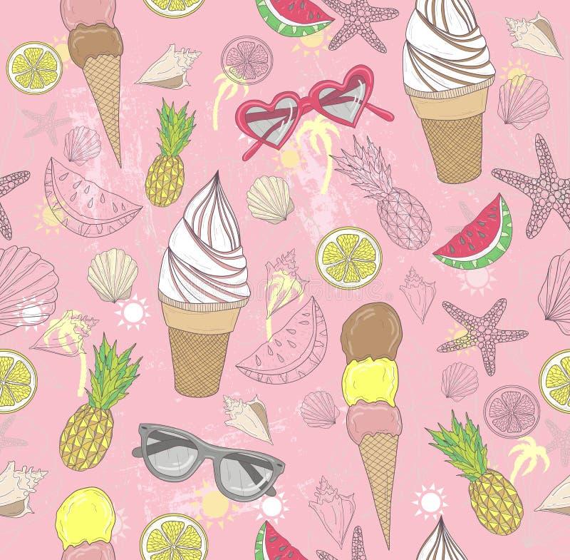 Modelo lindo del extracto del verano El modelo inconsútil con helado libre illustration