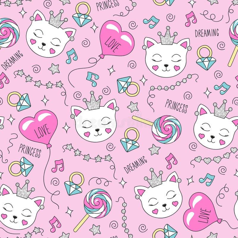 Modelo lindo del gato en un fondo rosado Modelo inconsútil de moda colorido Forme el dibujo del ejemplo en el estilo moderno para ilustración del vector