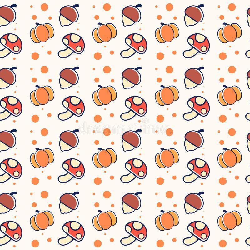 Modelo lindo del otoño con las calabazas, las setas y las nueces ilustración del vector