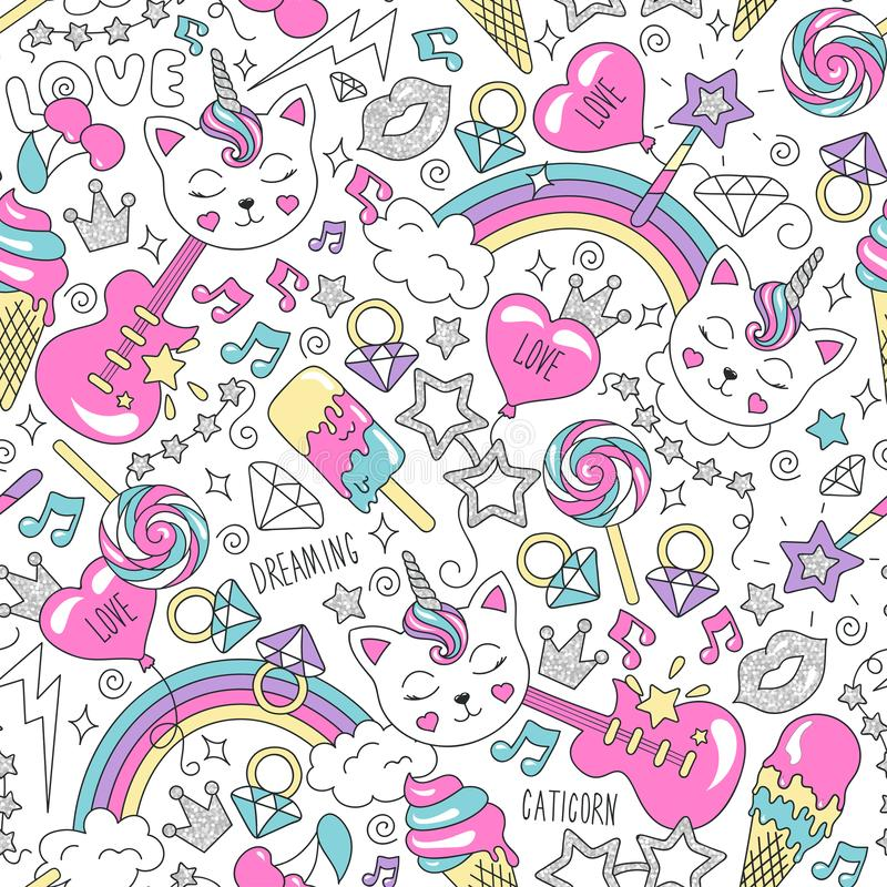 Modelo lindo del unicornio del gatito en un fondo blanco Modelo inconsútil de moda colorido Dibujo del ejemplo de la moda en esti stock de ilustración