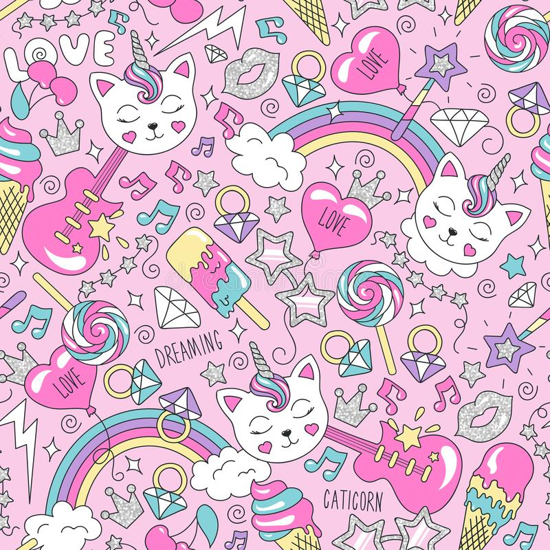 Modelo lindo del unicornio del gatito en un fondo rosado Modelo inconsútil de moda colorido Dibujo del ejemplo de la moda en esti libre illustration