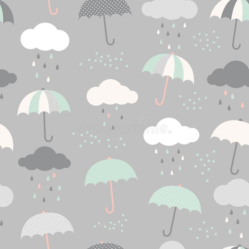 Modelo lindo del vector con los paraguas, las nubes y las gotas de lluvia Fondo inconsútil del estilo escandinavo stock de ilustración