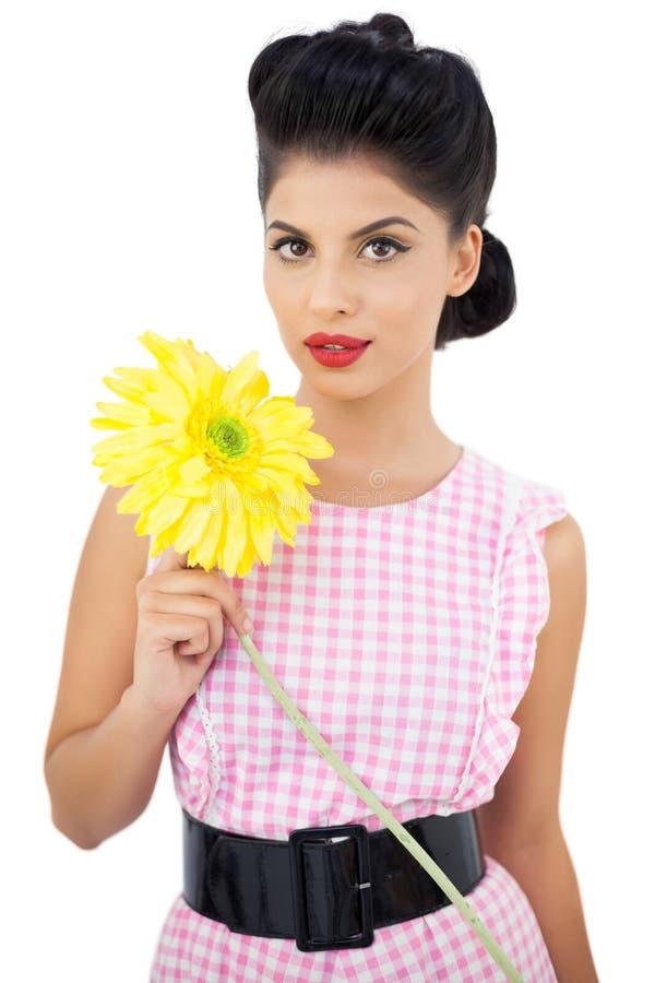 Modelo lindo do cabelo preto que guarda uma flor fotos de stock