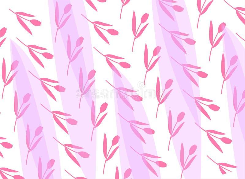 Modelo lindo en peque?a flor Fondo rosado Fondo floral Plantilla elegante para las impresiones de la moda libre illustration