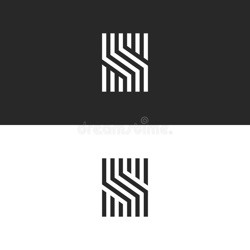 Modelo linear de S del monograma inicial de la letra, líneas blancos y negros forma geométrica creativa, identidad elegante mínim stock de ilustración