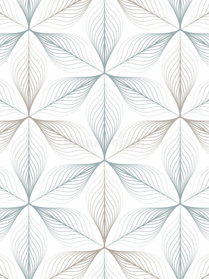 Modelo linear del vector que repite las hojas o la flor del extracto o flora en color de tono dos en forma del hexágono Limpie el ilustración del vector