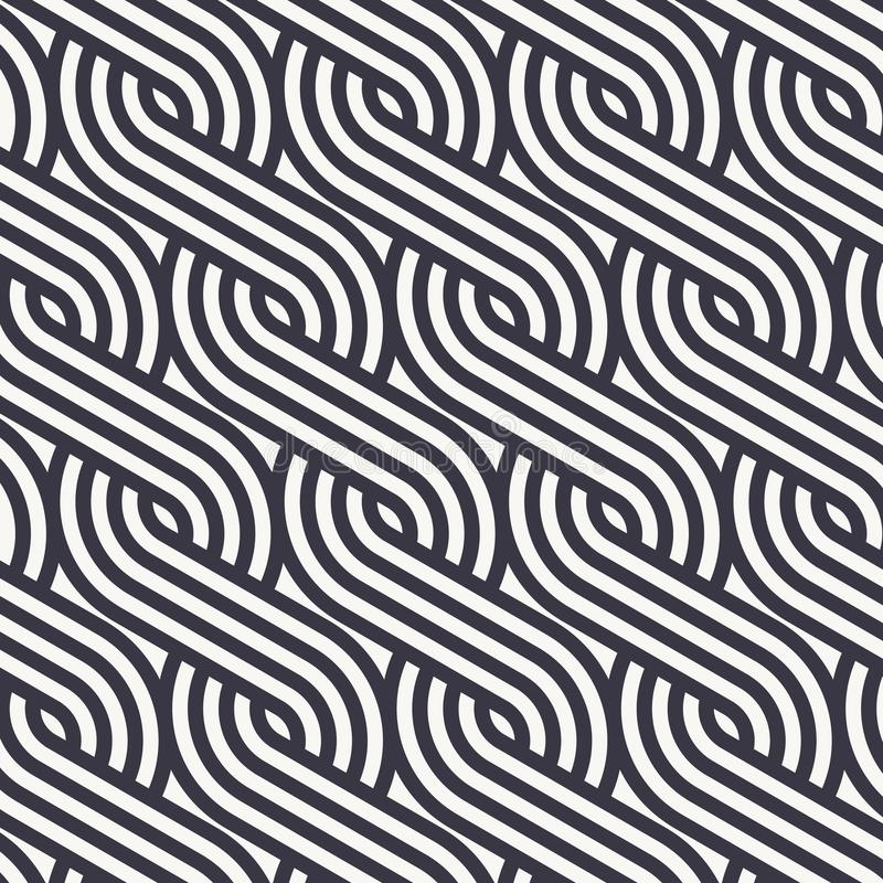 Modelo linear del vector que repite las líneas modelo del trenzado de los estilos hecho de un cuarto linear de círculo libre illustration