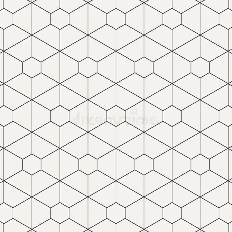 Modelo linear geométrico del vector, repitiendo la línea fina hexágono y la forma del trapezoide gráfico limpio para imprimir, te ilustración del vector