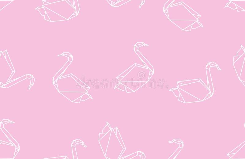 Modelo linear inconsútil del cisne japonés de la papiroflexia en fondo rosado stock de ilustración
