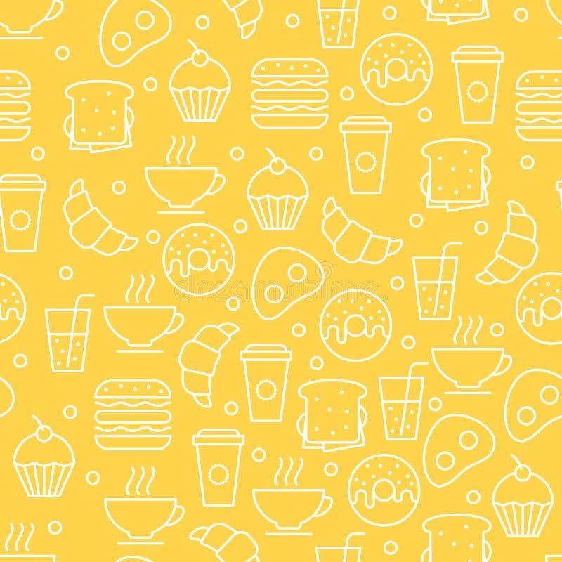 Modelo linear simple de la comida del vector inconsútil Illustrati del desayuno ilustración del vector