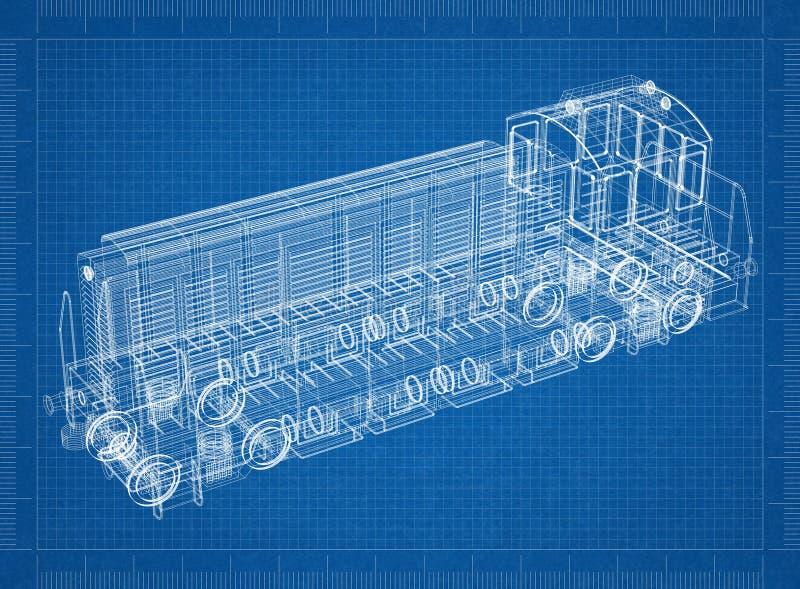 Modelo locomotivo do arquiteto ilustração do vetor