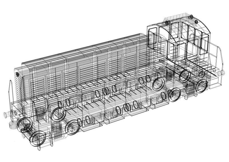 Modelo locomotivo do arquiteto - isolado ilustração stock