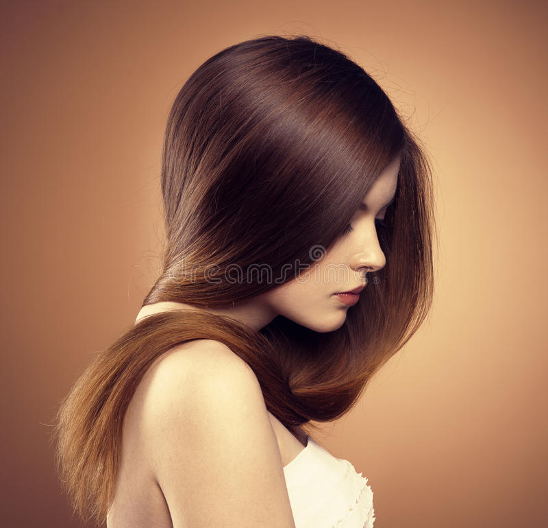 Modelo longo do cabelo fotografia de stock royalty free