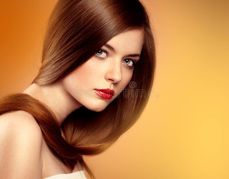 Modelo longo do cabelo imagem de stock
