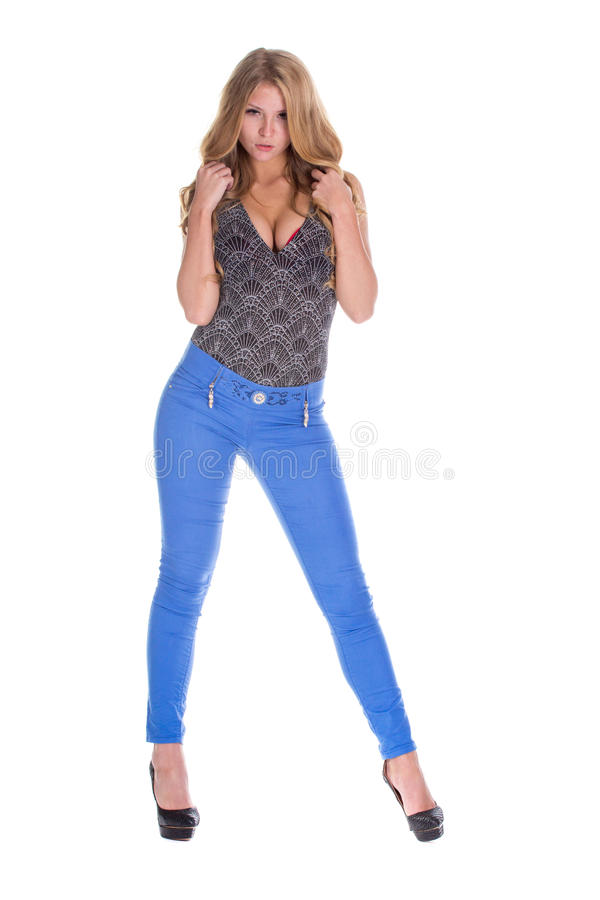Modelo louro bonito na calças de ganga fotografia de stock royalty free