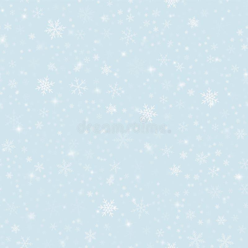 Modelo mágico de los copos de nieve en la Navidad azul clara stock de ilustración