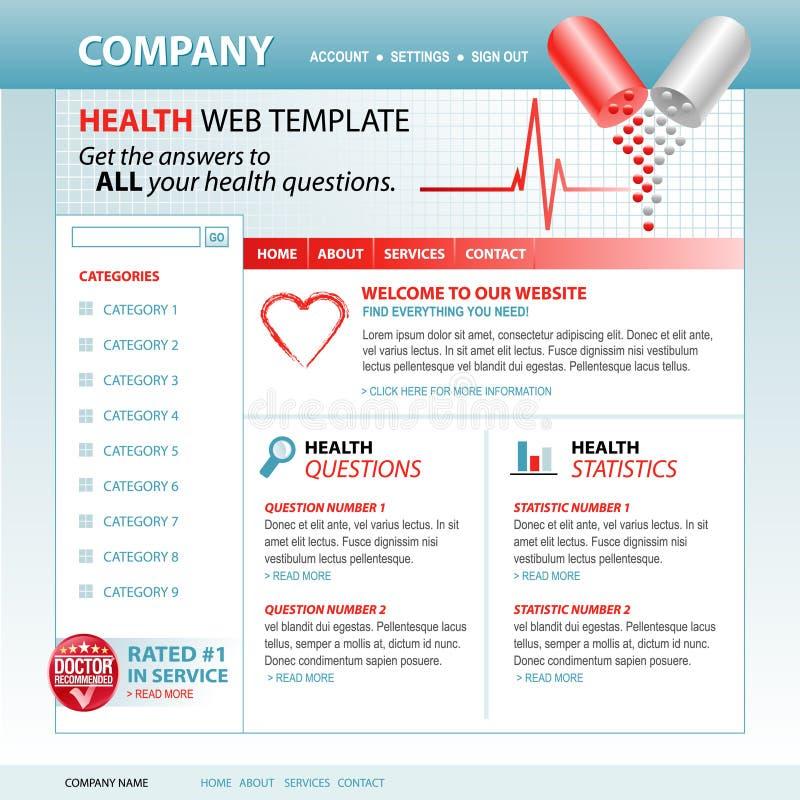 Modelo médico del Web site del Internet de la salud ilustración del vector
