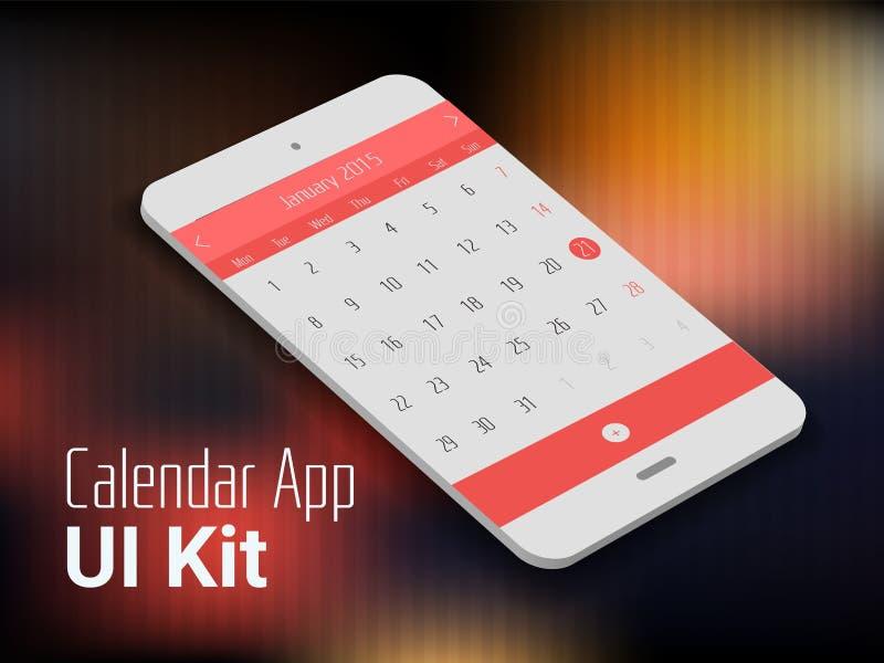 Modelo móvel do smartphone do app UI do calendário ilustração do vetor