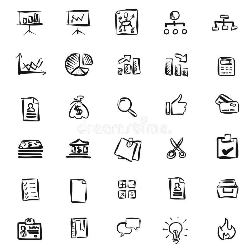 Modelo a mano de los iconos del negocio libre illustration