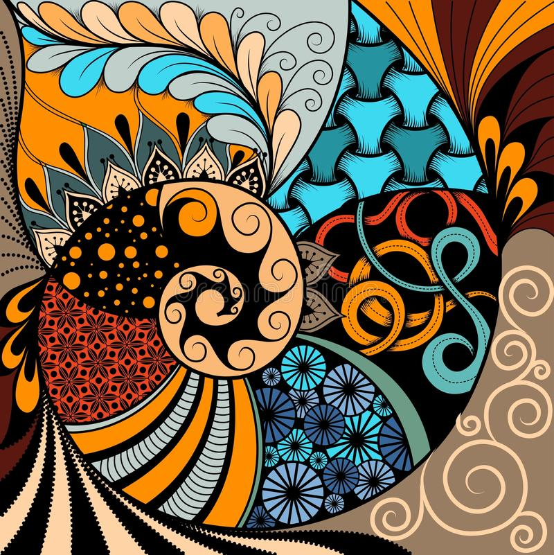 Modelo a mano del zentangle del ethno, fondo tribal Puede ser utilizado para el papel pintado, la página web, los bolsos, la impr stock de ilustración