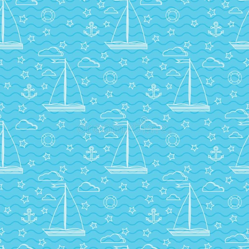 Modelo marino inconsútil del vector con dos velas velero, nubes, ancla, salvavidas libre illustration