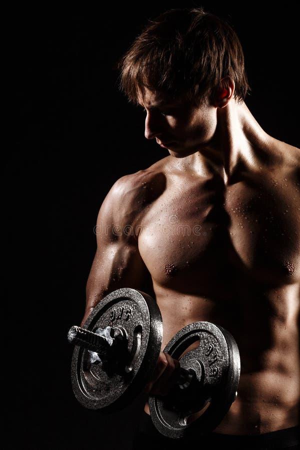 Modelo masculino de la aptitud joven muscular y apta del culturista que plantea el ove imagen de archivo libre de regalías