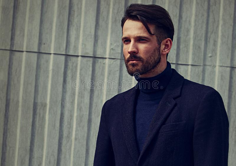 Modelo masculino hermoso del negocio del estilo de la barba de la moda con la mirada concentrada seria que presenta en fondo del  imagen de archivo