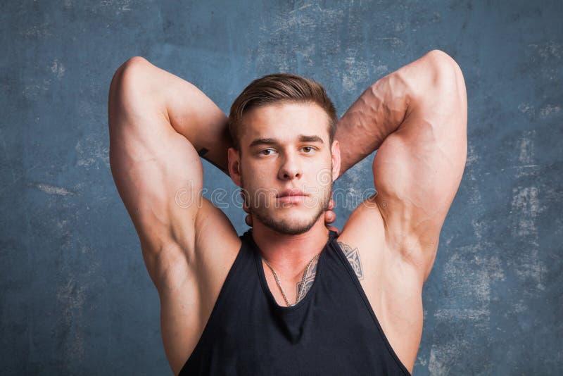 modelo masculino muscular no estúdio fotos de stock royalty free