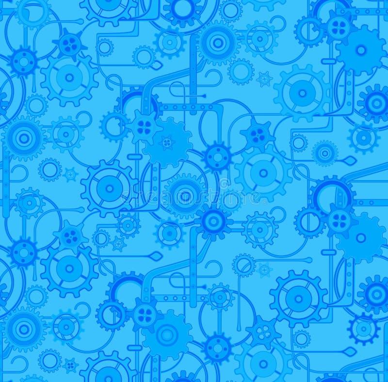Modelo mecánico inconsútil del fondo del vector Colores azules y eléctricos ilustración del vector