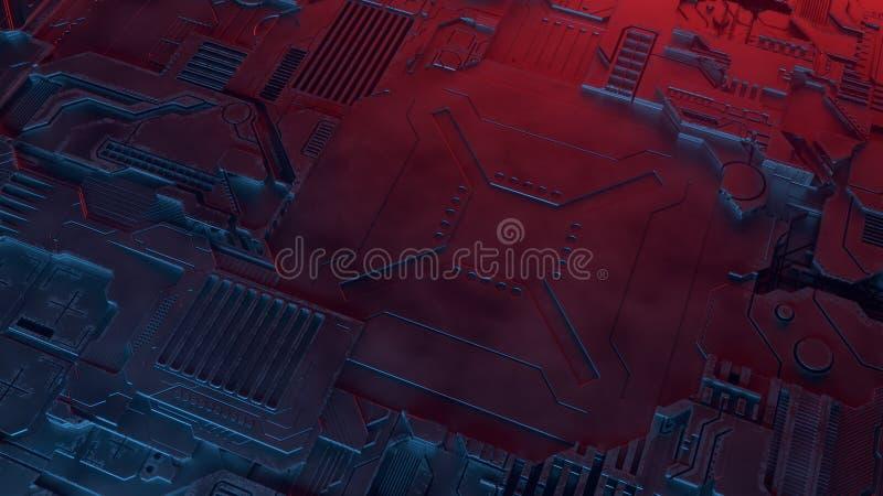 Modelo metálico abstracto Fondo futurista del techno iluminado por las luces coloreadas Ejemplo de Digitaces 3d libre illustration