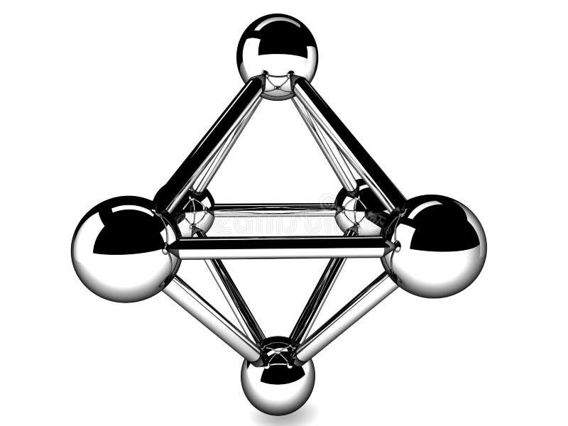 Modelo metálico del primer de la molécula ilustración del vector