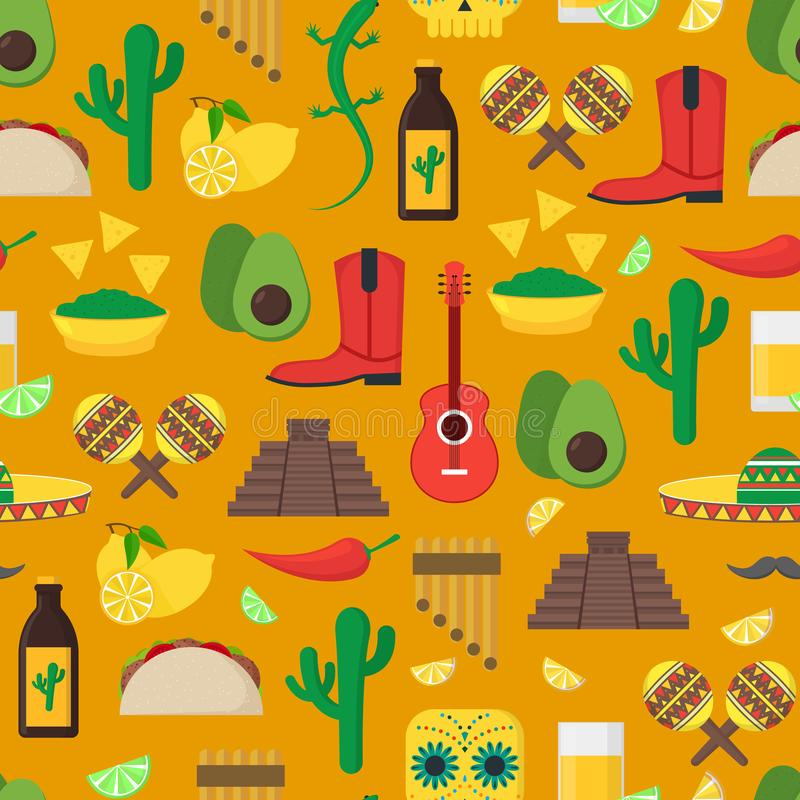 Modelo mexicano del fondo de la cultura de la historieta Vector libre illustration