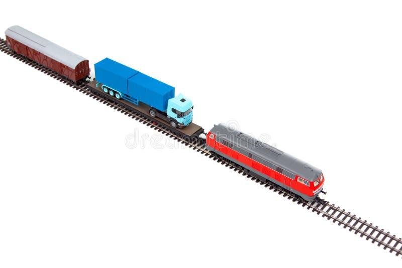 Modelo minigráfico del tren de mercancías imagen de archivo