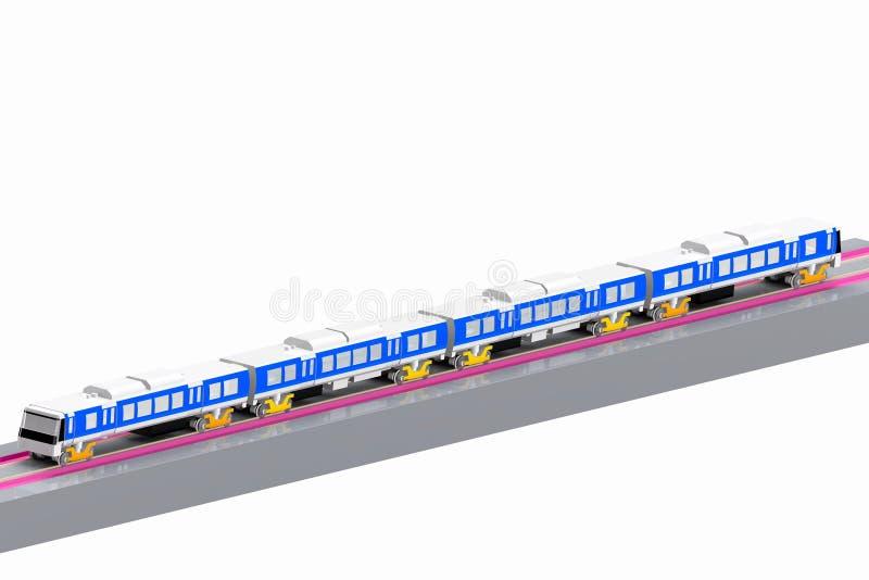Modelo moderno 3D do trem o fundo branco imagens de stock royalty free