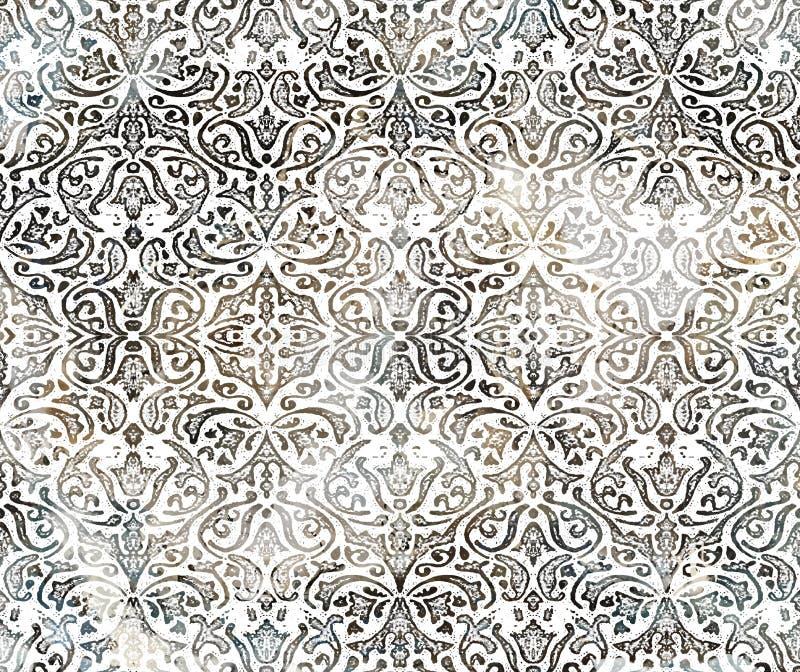 Modelo moderno de la repetición de la textura del teñido anudado del damasco del batik libre illustration