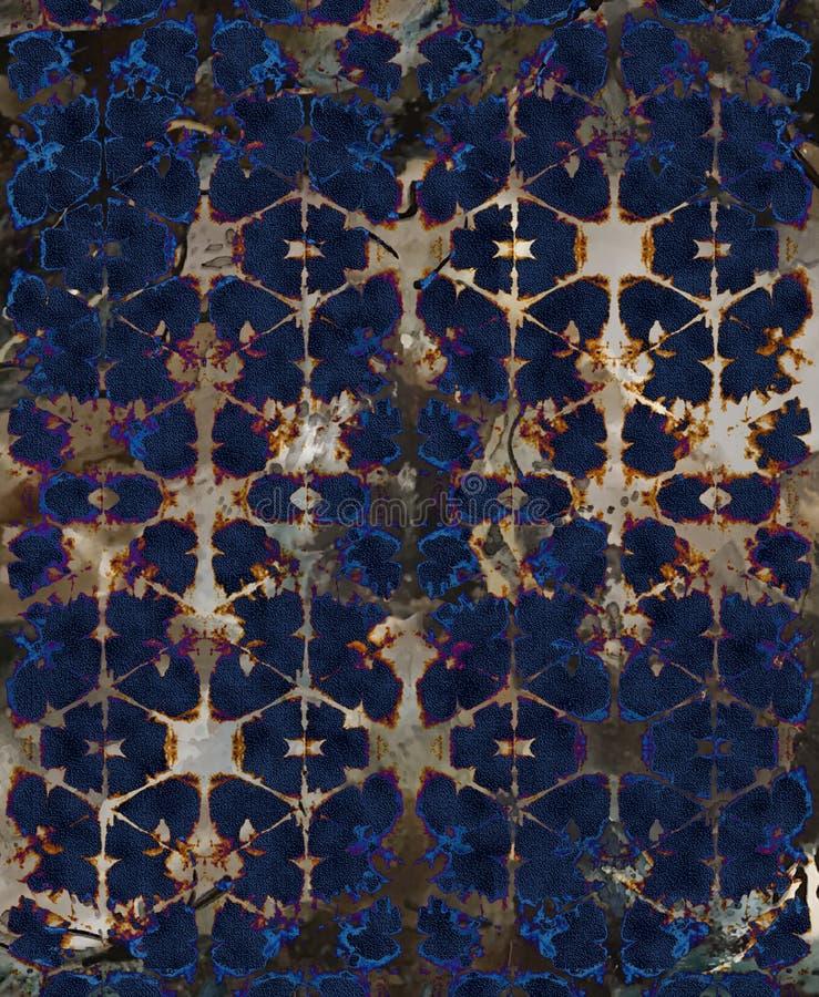 Modelo moderno de la repetición de la textura del teñido anudado del damasco del batik ilustración del vector
